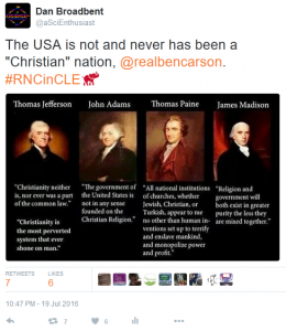 Ben Carson Not a Christian Nation