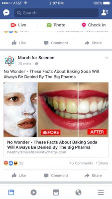fake march for science page posting pseudoscience nonsense