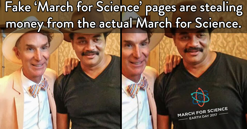 fake march for science pages stealing t-shirt design